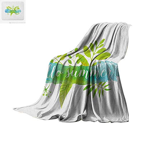 Printing Blanket Verdant Foliage Detailed Images with Watercolor Blob and Handwritten Print Oversized Travel Throw Cover Blanket 90