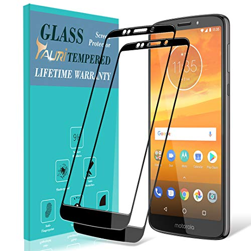 [2-Pack] TAURI for Motorola Moto E5 Plus/Moto E5 Supra Screen Protector, [Full Cover][Tempered Glass] Screen Protector with Lifetime Replacement Warranty - Black