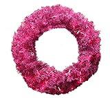DAK Pre-Lit Orchid Cedar Pine Artificial Christmas Wreath with Pink Lights, 24'