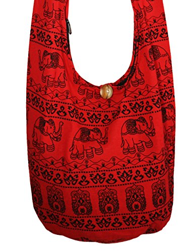 Lovely Creations's Hippie Boho Elephant Crossbody Bohemian Gypsy Sling Bag Shoulder Bag Purse Thai Top Zip Handmade Large Size (Red)