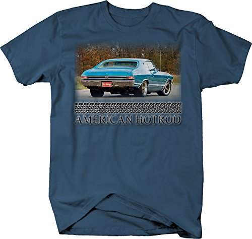Bold Imprints American Hotrod Racing Chevelle SS Blue Muscle Car Graphic T Shirt for Men Large