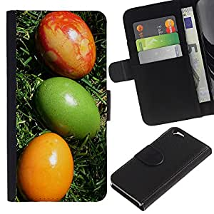 KLONGSHOP // Tirón de la caja Cartera de cuero con ranuras para tarjetas - Huevos de Pascua coloridos Arte Verde Rojo Amarillo - Apple Iphone 6 //