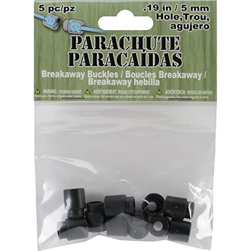 Pepperell Parachute Cord Safety Buckles, 5mm, Black, 5-Pack ()