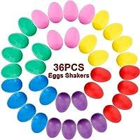 36PCS Rhythm Eggs Shaker Set Plastic Egg Shakers Musical Eggs Rhythm Eggs Shaker for Kids Party Supplies Sand Eggs Toys Easter Eggs, 6 Colors (Rattle Egg)