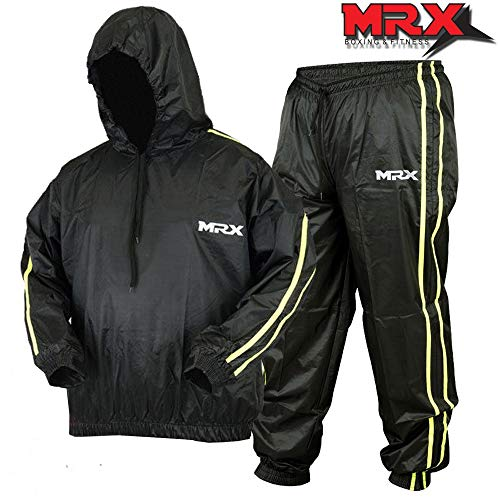 - MRX Heavy Duty Sweat Sauna Suit with Hoodie Exercise Gym Suit Fitness Weight Loss Slimming MMA Training Black/Green (XXXL)