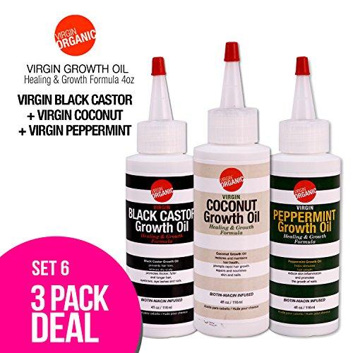 Cheap (3-in-One) Virgin Organic Black Castor, Coconut, Peppermint Growth Oil Healing & Hair Growth Formula 4oz