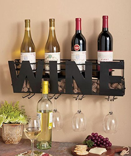 Metal Wall Mount Wine Bottle Rack: Hold Wine Corks & Wine Glasses (Wine Crate Ends)