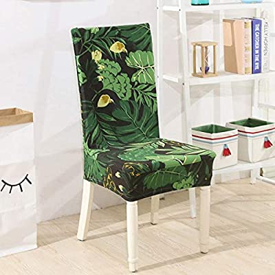 Tropical Banana Leaf Printing Chair Cover Stretch Dining Room Slipcovers Removable Protector Chair Seat Cover For Hotel 4 Universal
