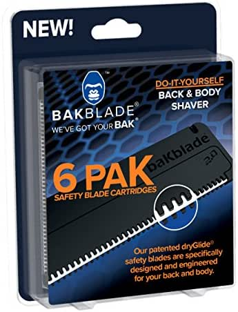 BAKblade 2.0 Refill Cartridges - Back Hair and Body Shaver Refill Replacement Cartridges. Extra-Wide Wet or Dry Disposable Razor Blades (6 Razors Included)
