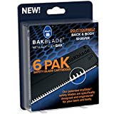 """BAKblade 2.0 Refill Cartridges - Back Hair & Body Shaver Refill Replacement Cartridges. 4"""" Extra-Wide Wet or Dry Disposable Razor Blades (6 Razors Included)"""