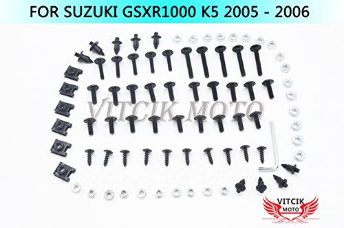 VITCIK Full Fairings Bolt Screw Kits for Suzuki GSXR1000 K5 2005 2006 GSXR 1000 K5 05 06 Motorcycle Fastener CNC Aluminium Clips (Black & Silver)