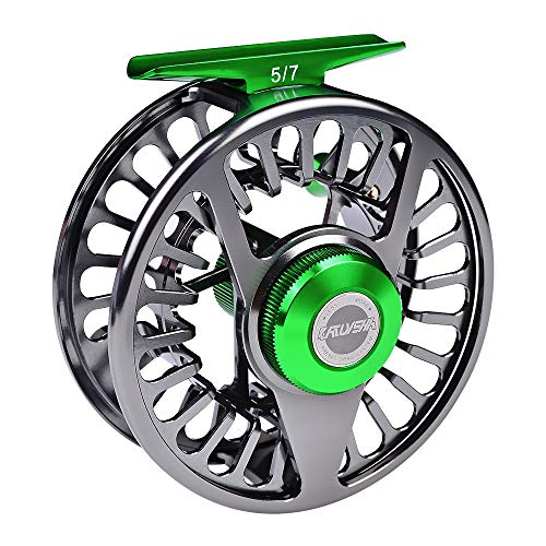 BAIKALBASS Fly Fishing Reel CNC-Machined Aluminum Alloy Fly Wheel Large Arbor 5/7 7/9 9/10 WT Disc Drag System Salmon Trout Fishing Reels Gunmetal 5/7WT