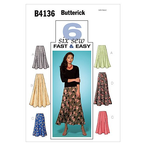Butterick, Cartamodello per gonna, 6 varianti, taglie 8-12 UK B4136080