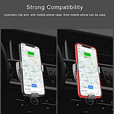 Samsung Galaxy S10 //S10+//S9 //S9+//S8 //S8+ New Wireless Car Charger Mount 10W Car Phone Holder Automatic Clamping IR Intelligent Sensing Compatible iPhone Xs//Xs Max//XR//X// 8//8 Plus