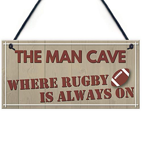 Cheyan Man Cave Rugby Husband Home Bar Pub Sports Shed Hanging Plaque Door Gift Sign