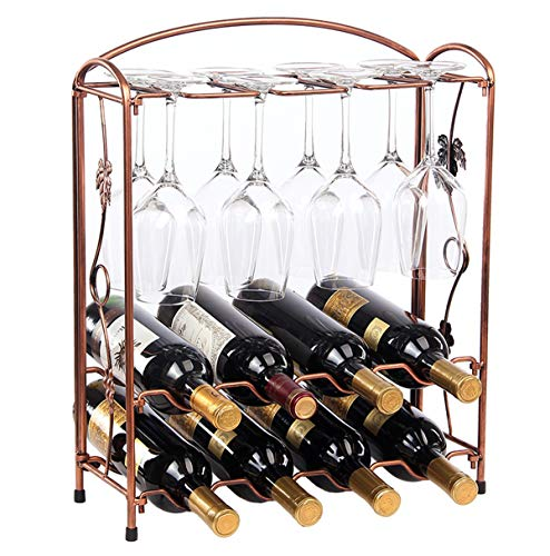 Metal Elegant Countertop Tabletop Wine Glass Drying Folding Rack Stand Hold 8 Wine Glass and 8 Bottles of Wine,Wine Bottle Holders Stands, Wine Storage Rack,Wine Glass Storage Display Rack Stand (Glass Rack Insert)