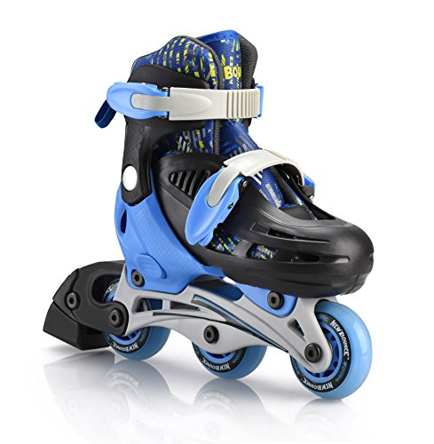 New Bounce Premium 2 in 1 Convertible Roller Skate Junior size 8-11, Tri wheel skate or inline Skates ()