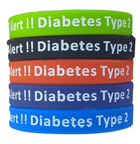 Type 2 Diabetes Bracelets Silicone Medical Alert Wristbands Pack of 5