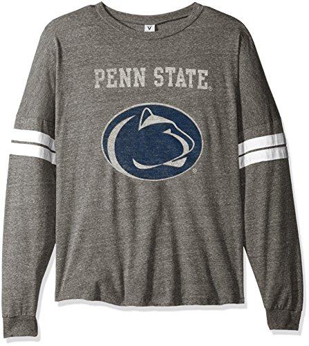 NCAA Penn State Nittany Lions Betty Long Sleeve Tri-Blend Football Jersey T-Shirt, X-Large, Tri Grey/White