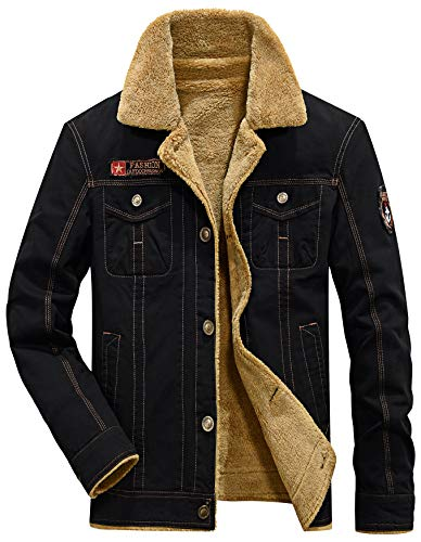 Vcansion Men's Winter Cotton Fleece Windproof Jacket Wool Outerwear Single Breasted Classic Military Style Jacket Coats Black XL
