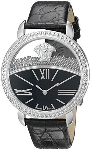 970fc9427d9 Versace Women's 'KRIOS' Swiss Quartz Stainless Steel and Leather Casual  Watch, Color:Black (Model: VAS020016)
