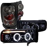 Dodge Ram Glossy Black Led Halo Projector Headlights, Smoke Altezza Tail Lights