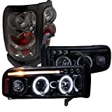 Dodge Ram Glossy Black Led Halo Projector Headlights, Smoke Altezza Tail Lights