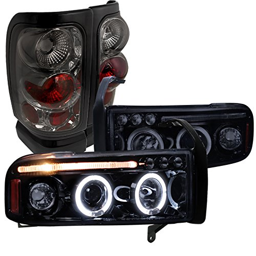 Dodge Ram Glossy Black Led Halo Projector Headlights, Smoke Altezza Tail Lights by Spec-D Tuning