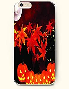 SevenArc Apple iPhone 6 Plus case 5.5 inches - All Hallows' Evening Red Maple Leaves And Pumpkin Lantern