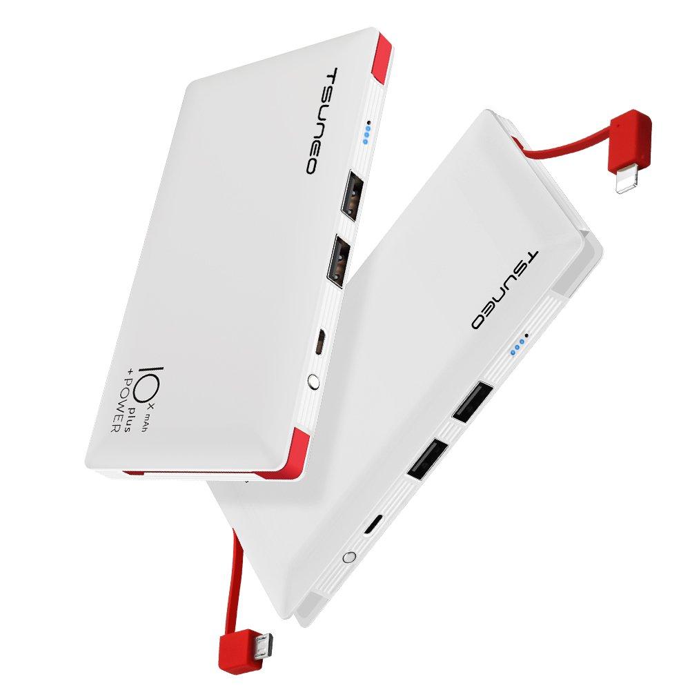 モバイルバッテリー 10000mAh ケーブル内蔵 大容量 MFi認証 ライトニング/microUSBコネクタ付 2USBポート スマホ 充電器 コンパクトで持ち運び便利 iphone/ipad/Android対応 (ホワイト)