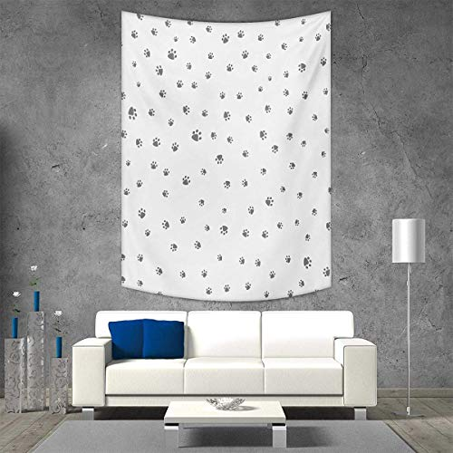 Animals Wool Tapestry - smallbeefly Dog Lover Beach Throw Blanket Foot Prints of an Animal Pet Canine Marks Abstract Nature Themed Illustration Vertical Version Tapestry 60W x 80L INCH Grey White