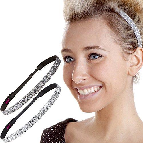 Duo Guns - Hipsy 2pk Women's Adjustable NON SLIP Skinny Bling Glitter Headband Silver Duo Pack (Silver & Gunmetal)