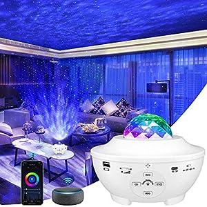 Lampe Projecteur LED, Lumière Projecteur Connectée WI-FI Simulation des Nuages 10 Modes Musicale Commande Fonctionne…