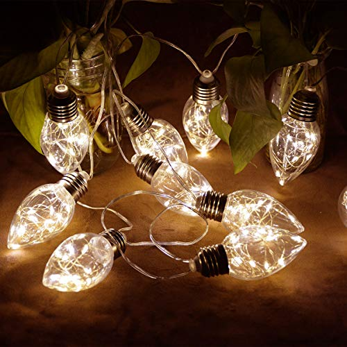 - Homeleo Battery Operated Hanging Lights, Clear Strawberry LED Bulb String Lights, Warm White Globe LED Hanging Light for Christmas Halloween Wedding Party Indoor Outdoor Umbrella Decor