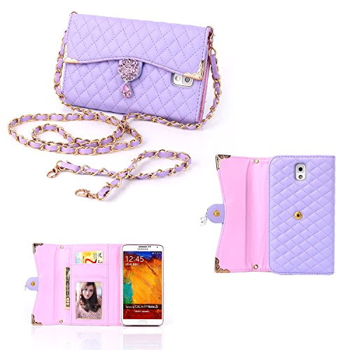 Galaxy Note 3 Case, Elonbo TM Purple Fashion Wristlet Diamond PU Leather Full Body Protector Chains Hangbag Pouch Folio Wallet Case Cover Skin For Samsung Galaxy Note 3 N9000