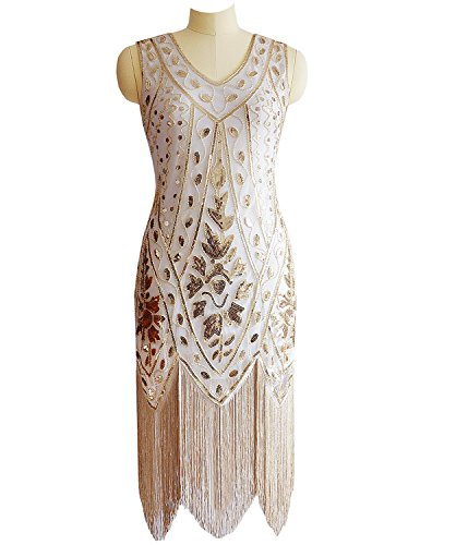 Miuco Women's 1920s Sequined Beaded Fringed Flapper Gatsby Evening Dress (XX-Large, Gold)