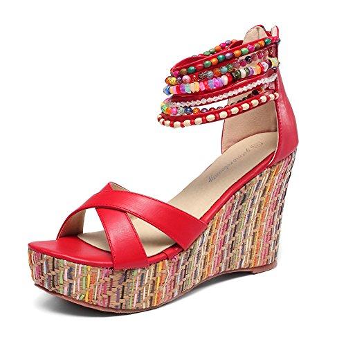 (getmorebeauty Women's Wedge Sandals Pearls Across The Top Platform High Heels (6 B(M) US, Red))