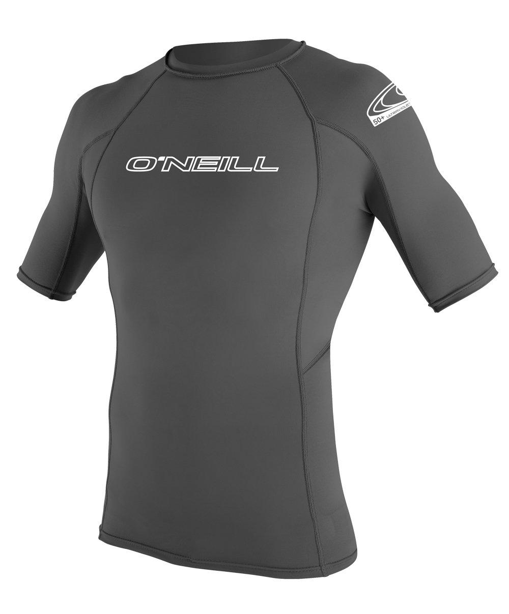 O'Neill Wetsuits Men's Basic Skins UPF 50+ Short Sleeve Rash Guard, Graphite, Medium