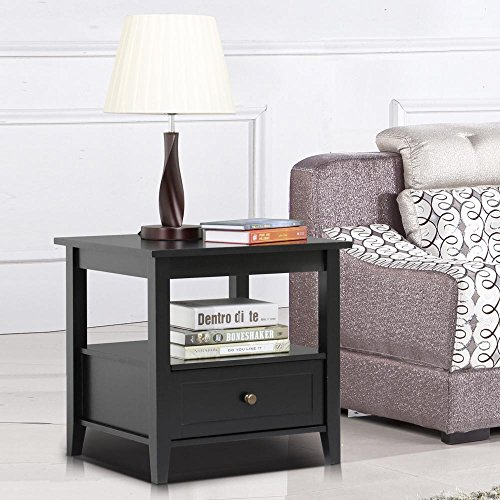 Yaheetech Black Wood End Table/Night Stand with Drawer and Open Shelf for Storage Bed/Chair/Sofa Side Table by Yaheetech (Image #2)