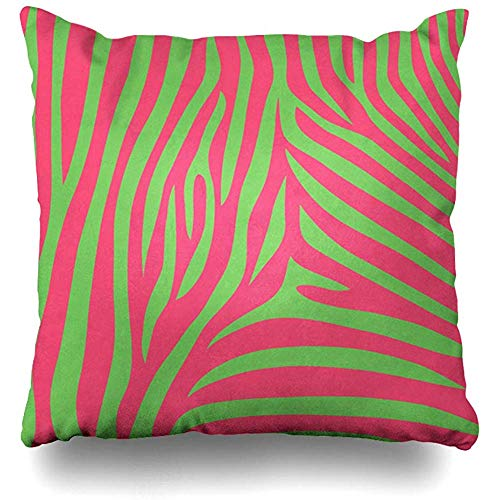 Throw Pillow Cover Decorative Cases Cute Baby Green Pink Diva Zebra Blank Bold Booking Bright Children Home Decor Cushion Case Square 18 x 18 Inches Zippered
