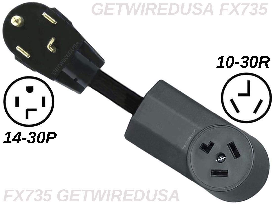 Dryer Power Cord Adapter, 4-Prong Plug To 3-Prong Outlet, Male To Female Electric Converter. by getwiredusa (Image #1)