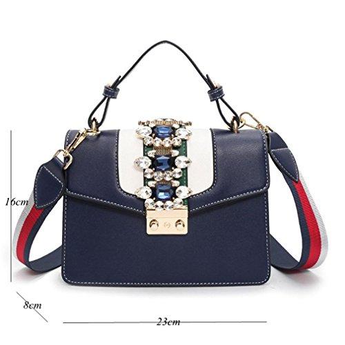 Ladies Bag Locking Messenger Shoulder Pu Leather Black Square Handbag Rhinestone Bags Small Crossbody wSTS8qC