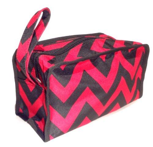 Black & Maroon Chevron Hanging Shaving Toiletry Travel Bag Case Dopp Kit with Zipper & Strap Hanger TravelNut® Dad Men Unique Cool Birthday Easter Basket Filler Gift (Sexy Bunny Makeup)