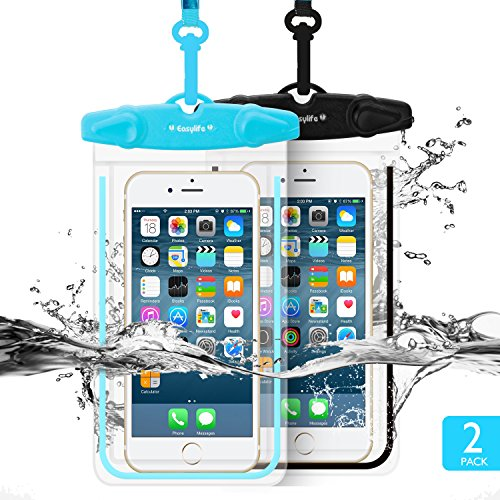 Waterproof Case Easylife 2 Pack Universal Dry Bag/ Pouch,Clear Sensitive PVC Touch Screen,for iPhone 7/6/6S Plus/5/5s/5c Galaxy S7/S7 Edge/S6/S5/S4 Note 4/3 LG G5/G3 Up To 5.5