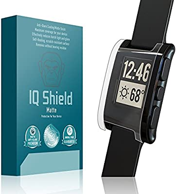 Pebble E-Paper Smartwatch Screen Protector, IQ Shield Matte (6-Pack) Full Coverage Anti-Glare Screen Protector for Pebble E-Paper Smartwatch ...