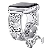 Secbolt Hollowed-Out Bling Bands Compatible Apple Watch Band 38mm 40mm iWatch Series 4, Series 3, Series 2, Series 1, Diamond Rhinestone Stainless Steel Cuff Bracelet Jewelry Dressy Bangle, Silver