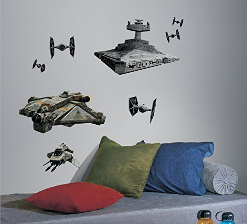 RoomMates RMK2657GM Star Wars Rebel and Imperial Ships Peel and Stick Giant Wall Decals by RoomMates