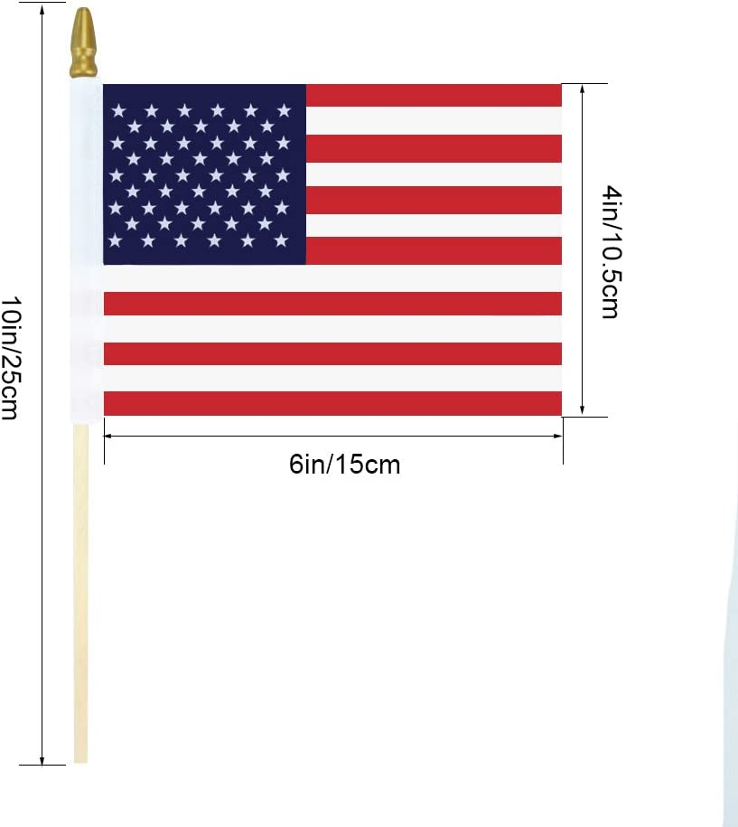 BonyTek Set of 15 Small American Flags 4x6 Inch//US Small Flag//Mini American Stick Flag//American Hand Held Stick Flags Spear Top