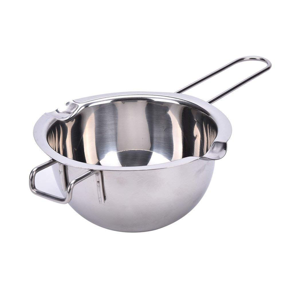 304 Stainless Steel Universal Melting Pot with Silicon Scraper, Double Spouts, Double boiler insert, with Handle, Melted Butter Chocolate, Cheese, Caramel HULISEN HS-7172