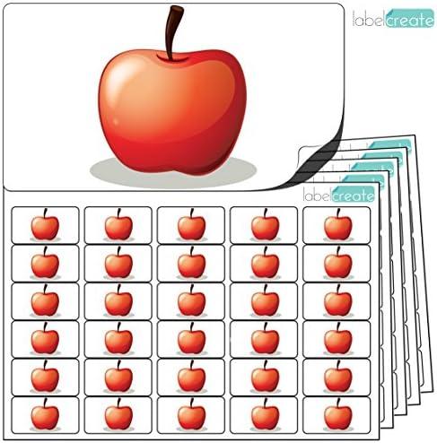 480 x Aufkleber - Apfel (38 x 21 mm). Hochwertige selbstklebende Etiketten mit Fruchtmotiv von LabelCreate.